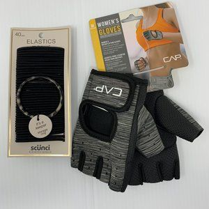 Gift Set Weightlifting Gloves Black Hair Bands NWT